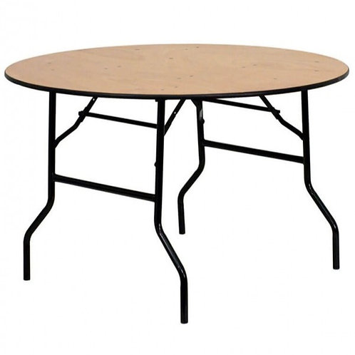4 Foot Round Wooden Trestle Table