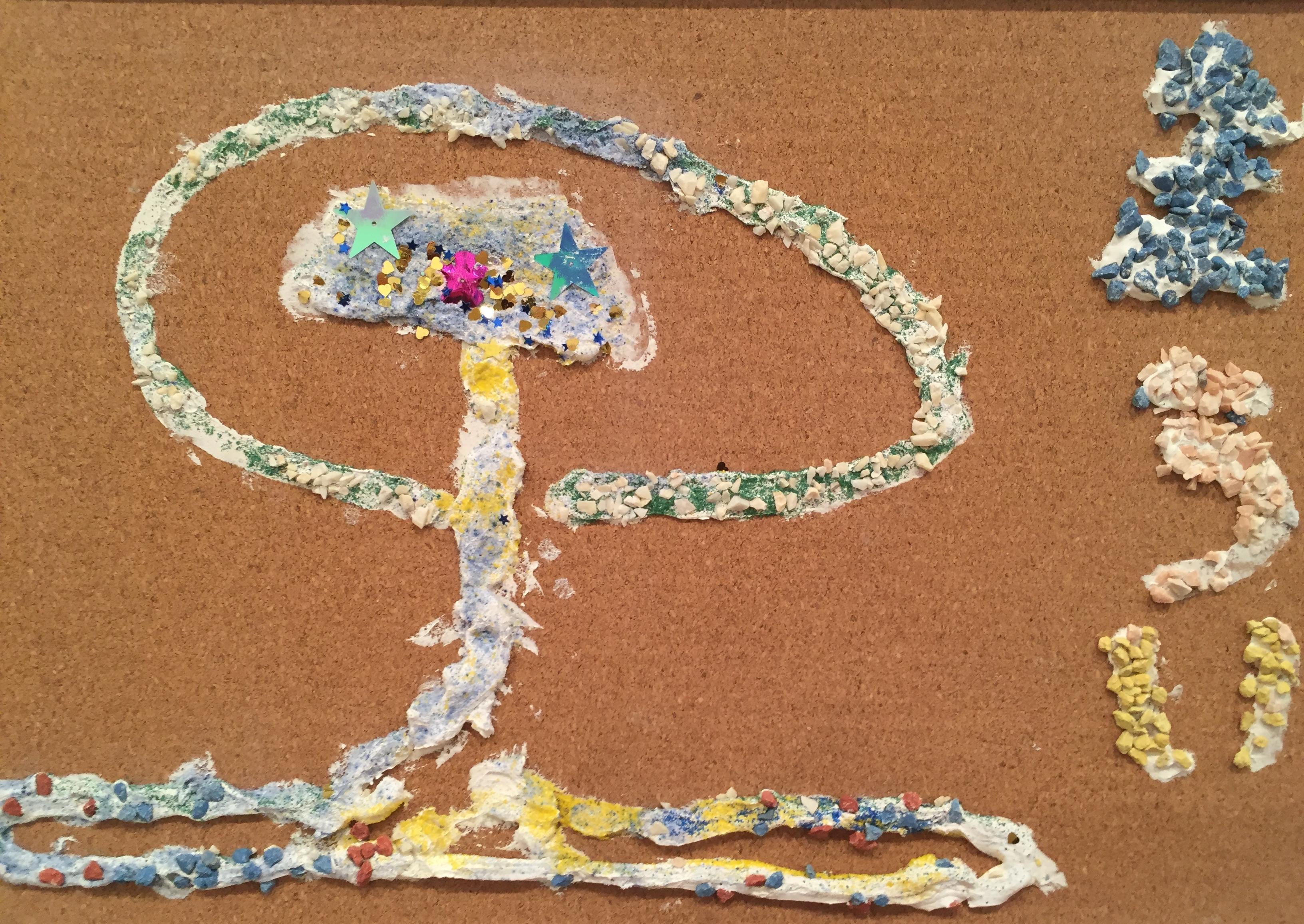 ホイップ粘土と色砂で