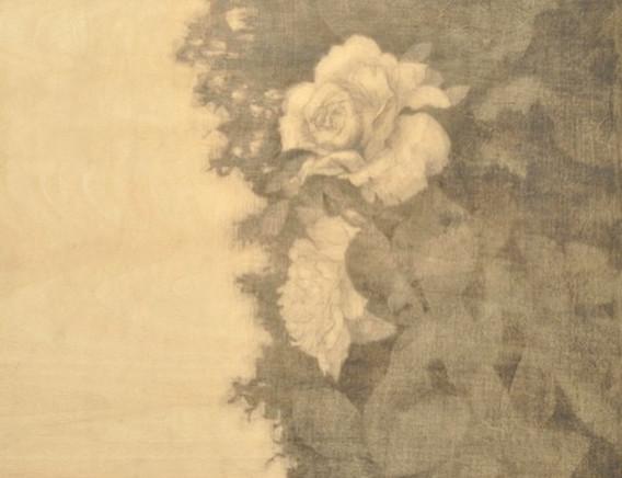 the roses_木の板に鉛筆 _original art work by n