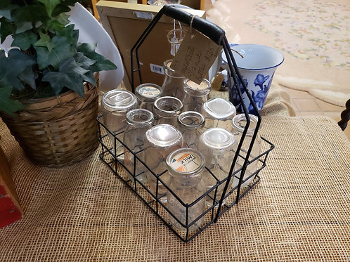 Wire Caddy With 12 Milk Bottles V#518