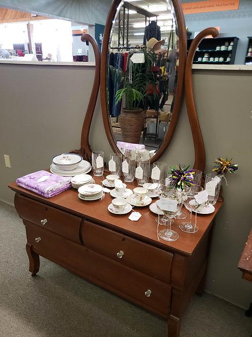 Antique Lowboy Dresser w/ Mirror V#805