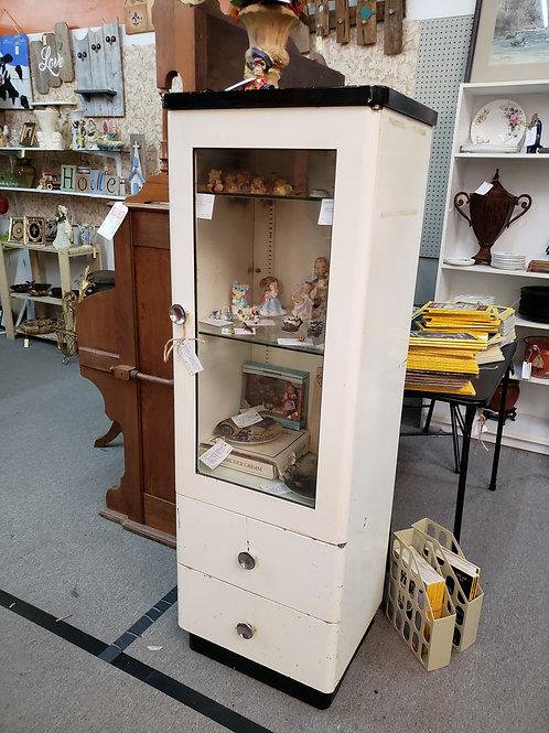 Vintage Upright White Medical Cabinet V#860