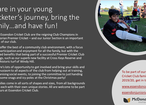 Share in your young cricketer's journey, bring the family…and have fun!