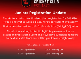 U12s and U14s now on wait list