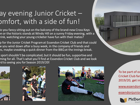 Friday evening Junior Cricket – in comfort, with a side of fun!