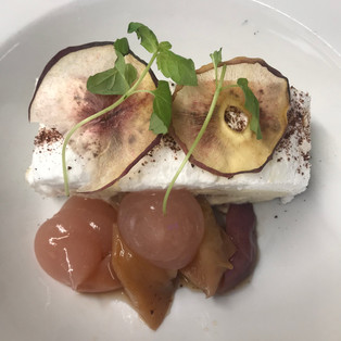 Roasted white peach roulade