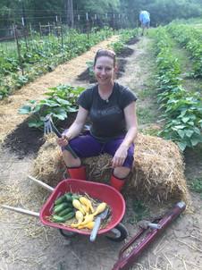 Our first little harvest in a tiny wheelbarrow