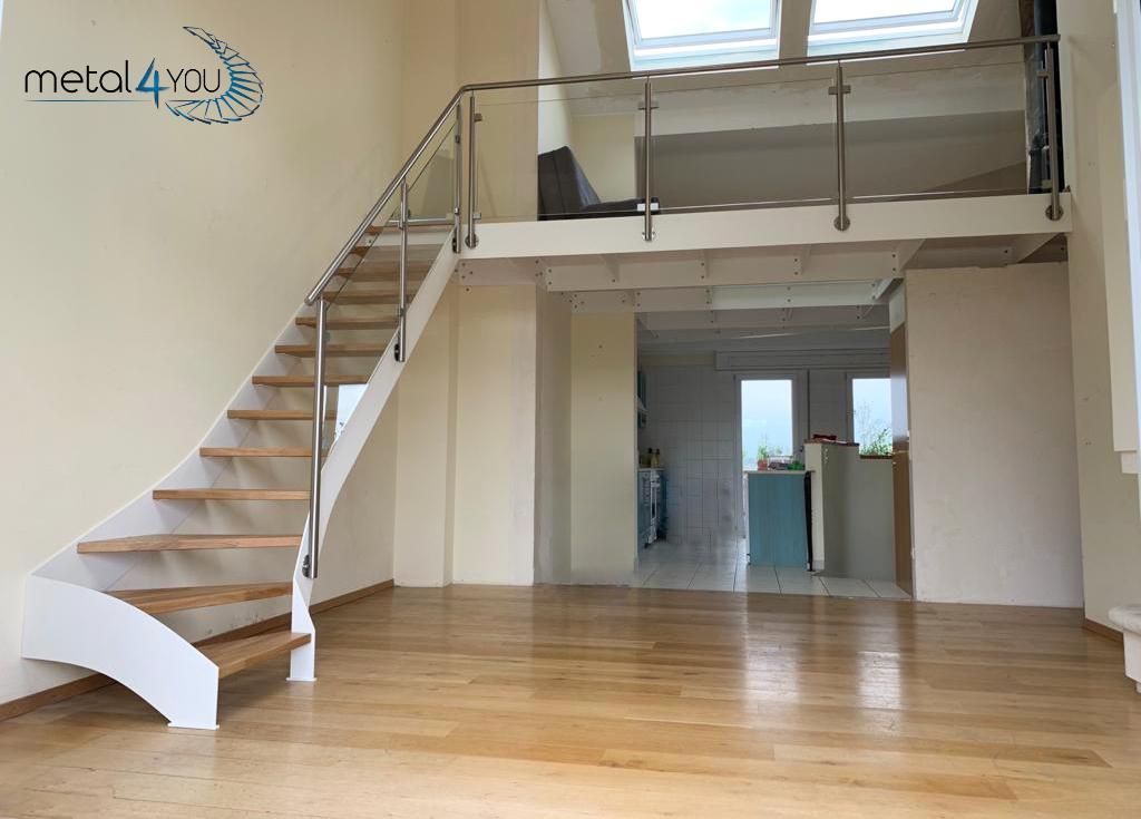 Treppe Glas-Edelstahl-Geländer Mezzanine