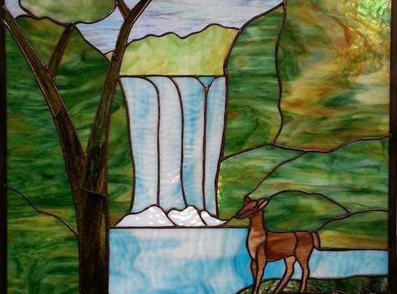 Waterfall and Deer Custom Window