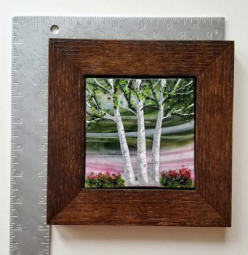 Square Wood Framed Fused Glass