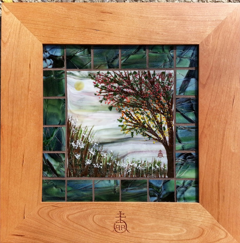 Grouted Nature Scene with Glass Tiles