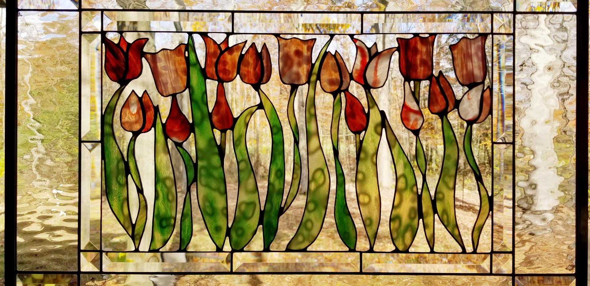 Red Tulips Window Panel