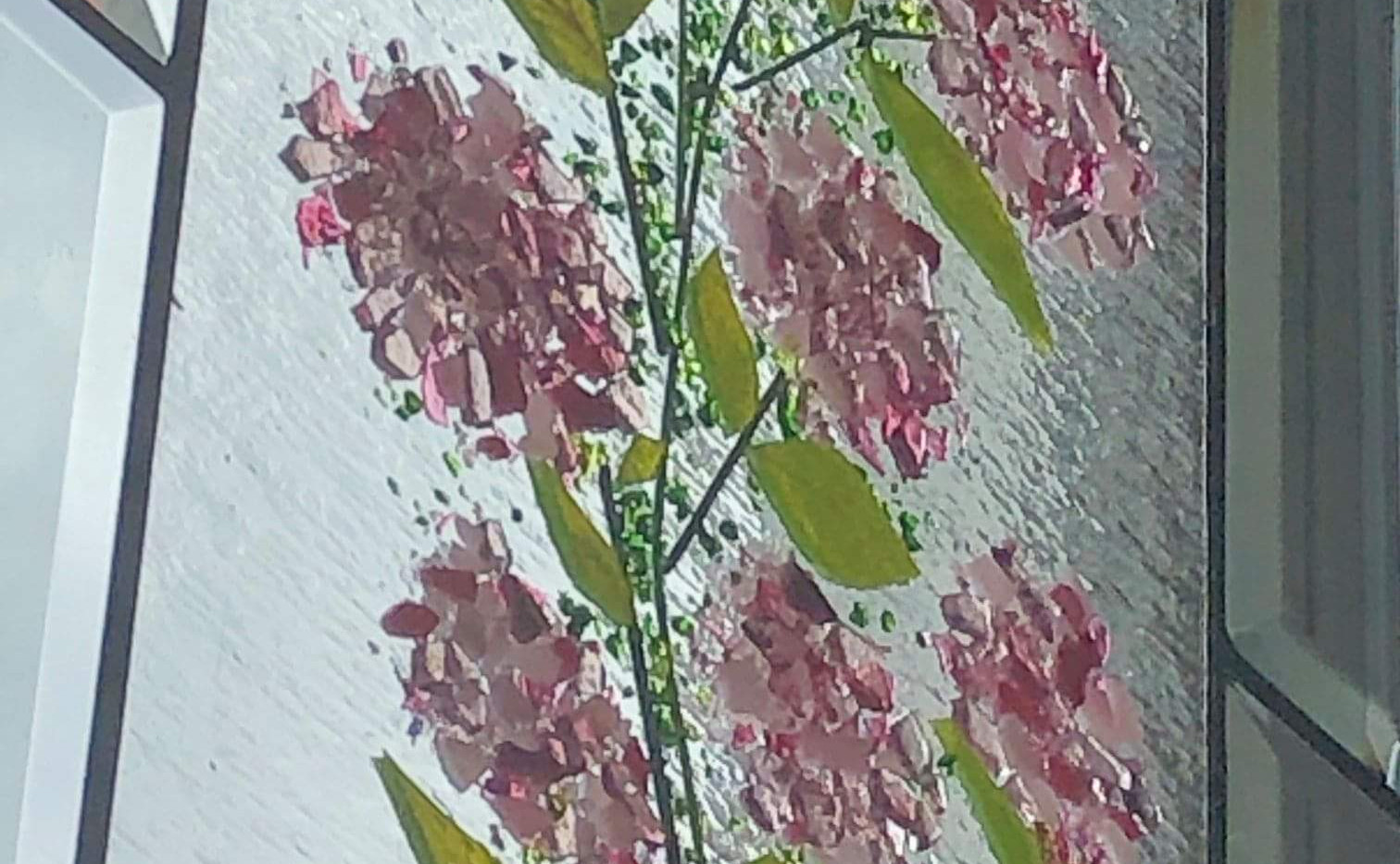 Kevin Guest House Pink Hydrangea Window Panel