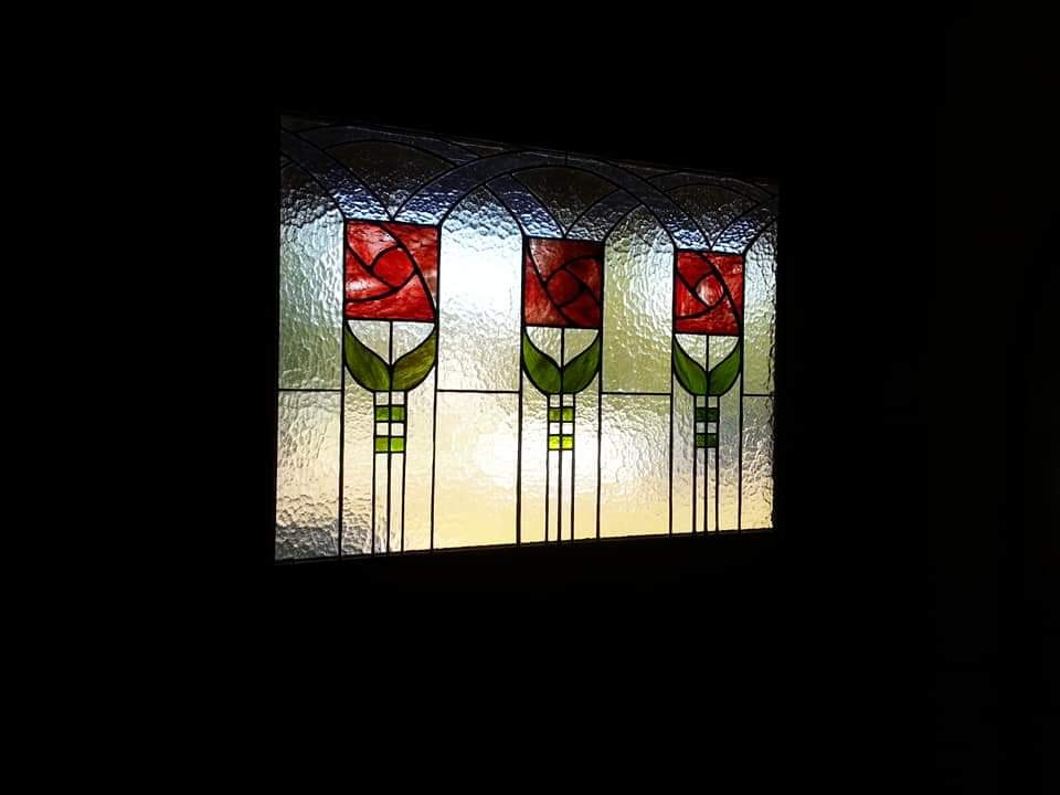 Custom Front Door Roycroft Rose Window