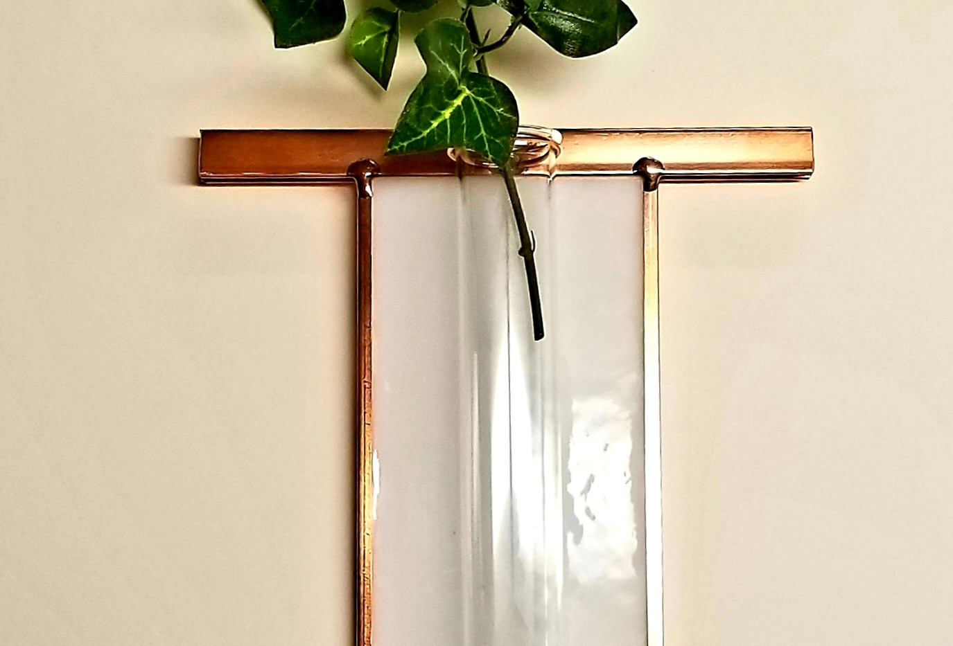Fused Glass and Copper Roycroft Rose Hanging Bud Vase