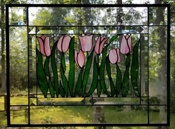 Pink Tulips Window Panel