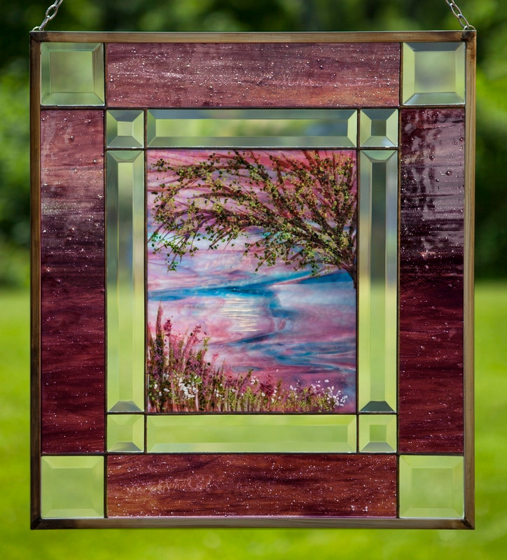 Purple Nature Scene Window Panel