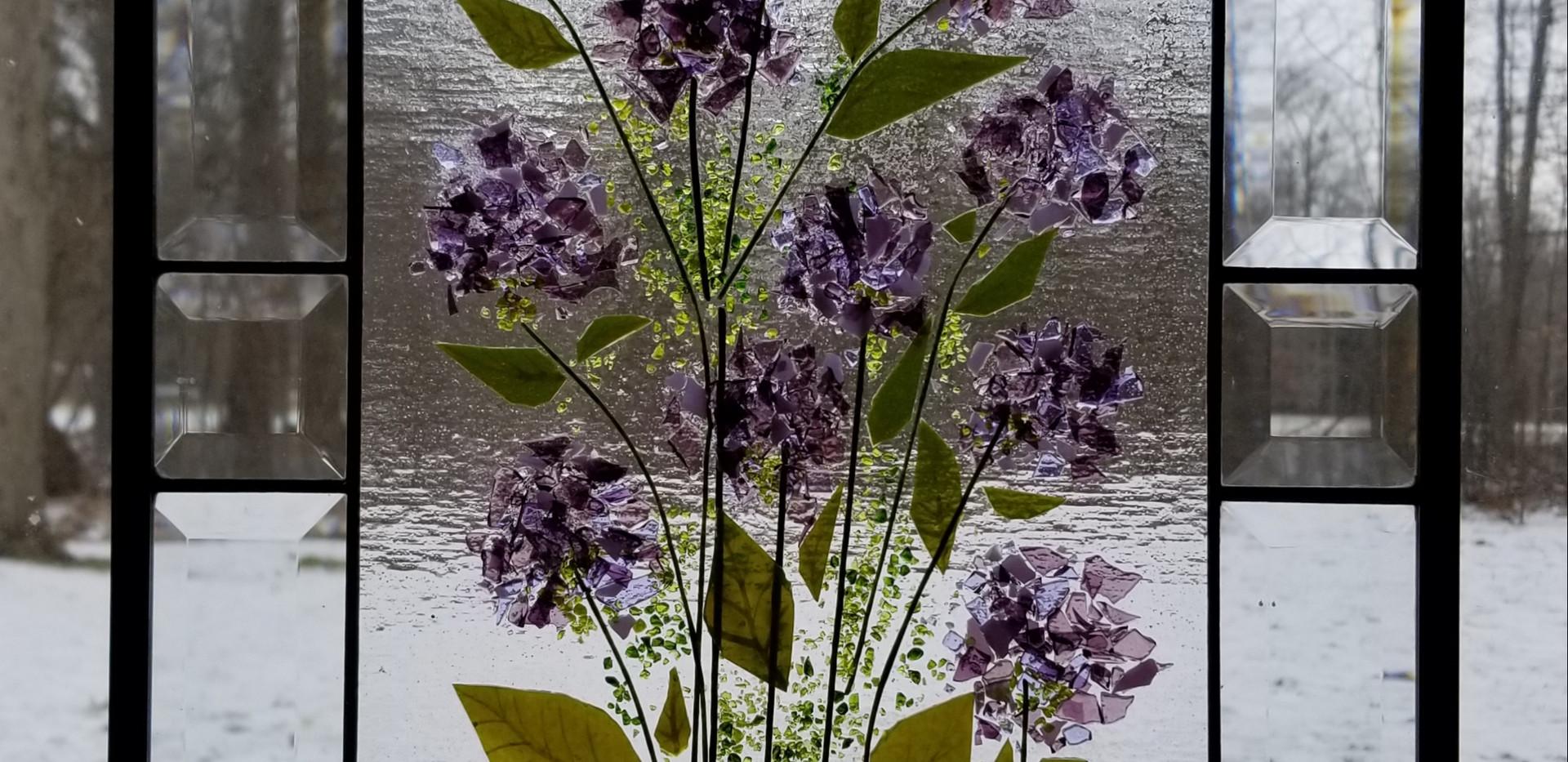 Kevin Guest House Purple Hydrangea Window Panel