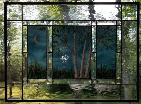 White Birch Night Scene Window Panel