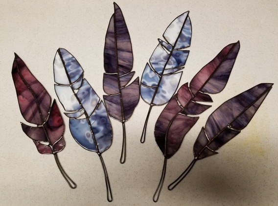 Glass Feather Suncatchers