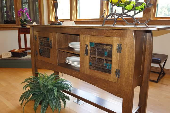 Arts and Crafts Buffet with Custom Glass Panel Doors