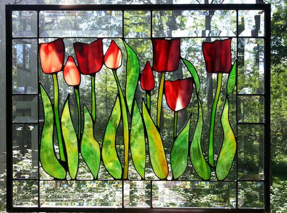 Tulip Garden Window Panel