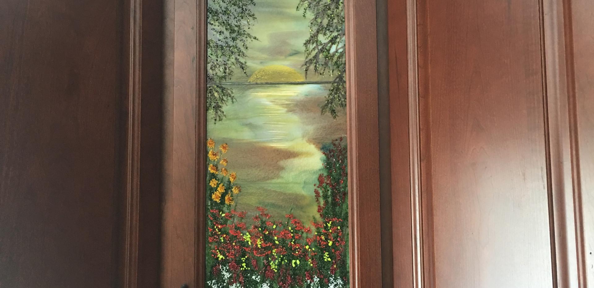 Fused Glass Cabinet Door