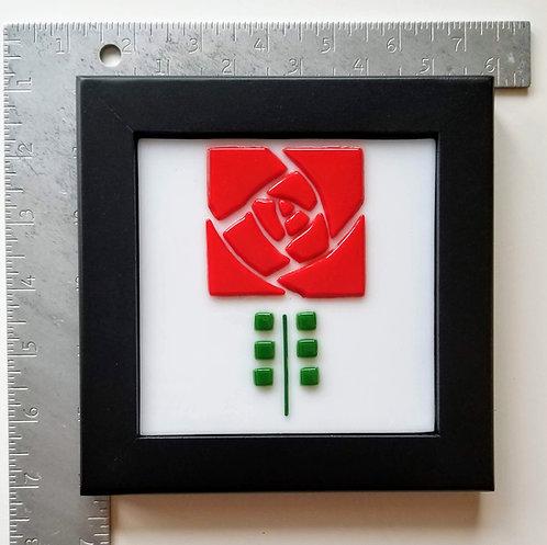 Square Wood Framed Roycroft Rose