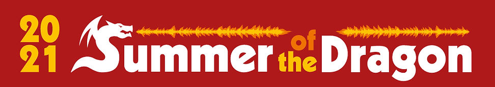 """2021 Summer of the Dragon. The """"S"""" is stylized like a dragon breathing fire. The background is red, the letters are orange and white."""