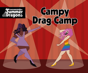 """""""Camp Drag Camp"""" An illustration of two performers in spot light in front of a curtain. One has black skin and wearing purple tight clothes, the other has pale skin and a dark beard and is wearing a rainbow pride skirt."""