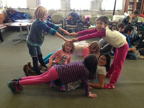 Six young girls playing together at one of Roseneath's day camps