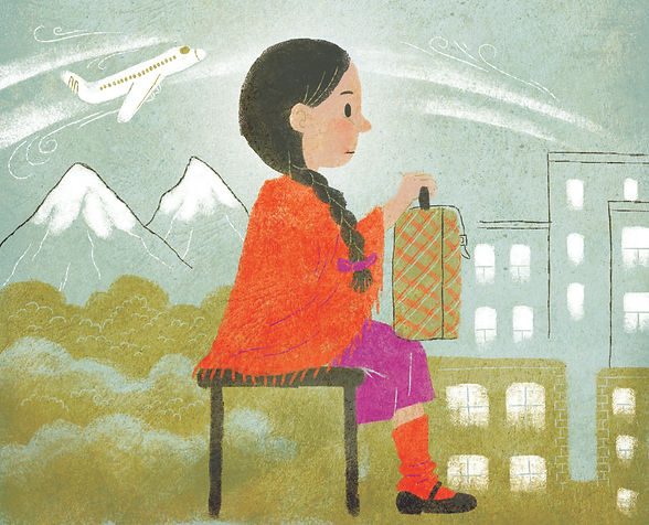 Artwork by Claudia Davila. A Girl sitting facing right in an orange poncho sits with a suitcase on her lap. Her hair is tied in a braid that drapes over her shoulder. Behind her is mountains, a forest and an airplane in the sky. In front of her are city buildings.