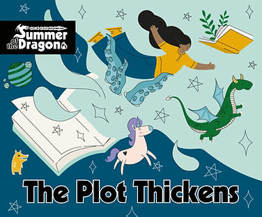 """""""The Plot Thickens"""" A book is open with many images of imagination like a dragon, and a woman flying and a unicorn."""