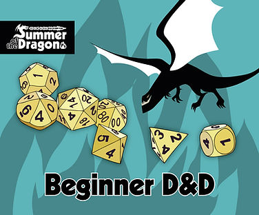 """""""Beginner D&D"""" a blue background with a tan dice set"""