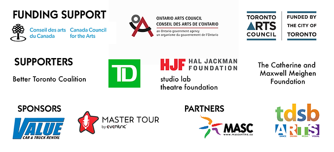 A banner containing logos of Roseneath Theatre's supporters and sponsors. Funding support from Canada Council for the Arts, Ontario Arts Council, and Toronto Arts Council. Supporters include Better Toronto Coalition, TD Canada Trust, Hal Jackman Foundation, Studio Lab Theatre Foundation, The Catherine and Maxwell Meighen Foundation. Sponsors include Value Car & Truck Rental, Master Tour by Eventric, MASC, and TDSB Arts.