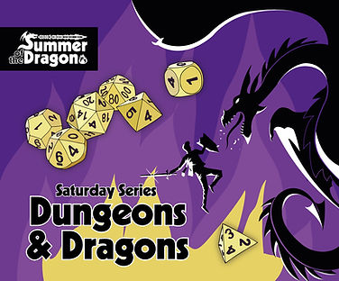 Saturday D&D. A violet background with a tan dice set next to a black and white dragon breathing flame at a knight with their sword ready..