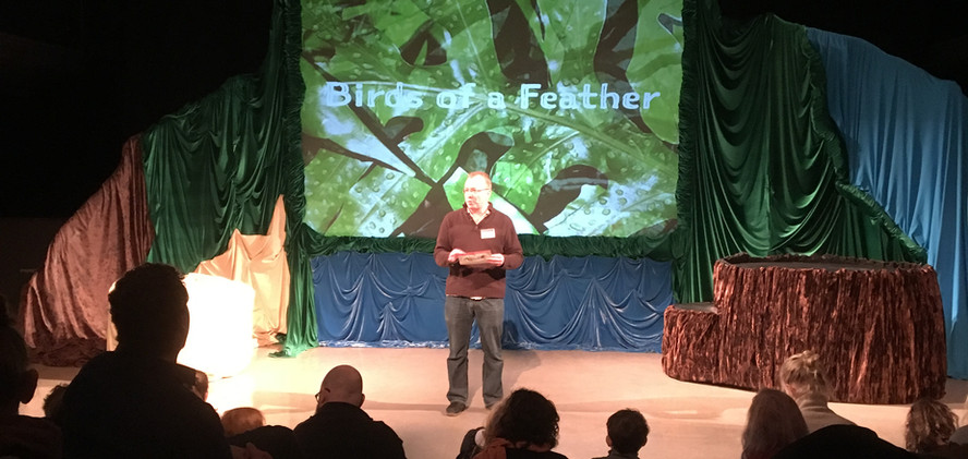 Andrew Lamb talking to audience for Birds of a Feather