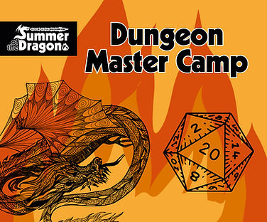Dungeon Master Camp, a Yellow and Red background with a black woodcut dragon and d20 graphic.