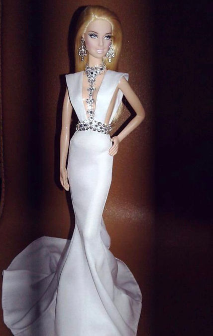 Our Pearl Silver Body Belt rendered as a custom Barbie Doll