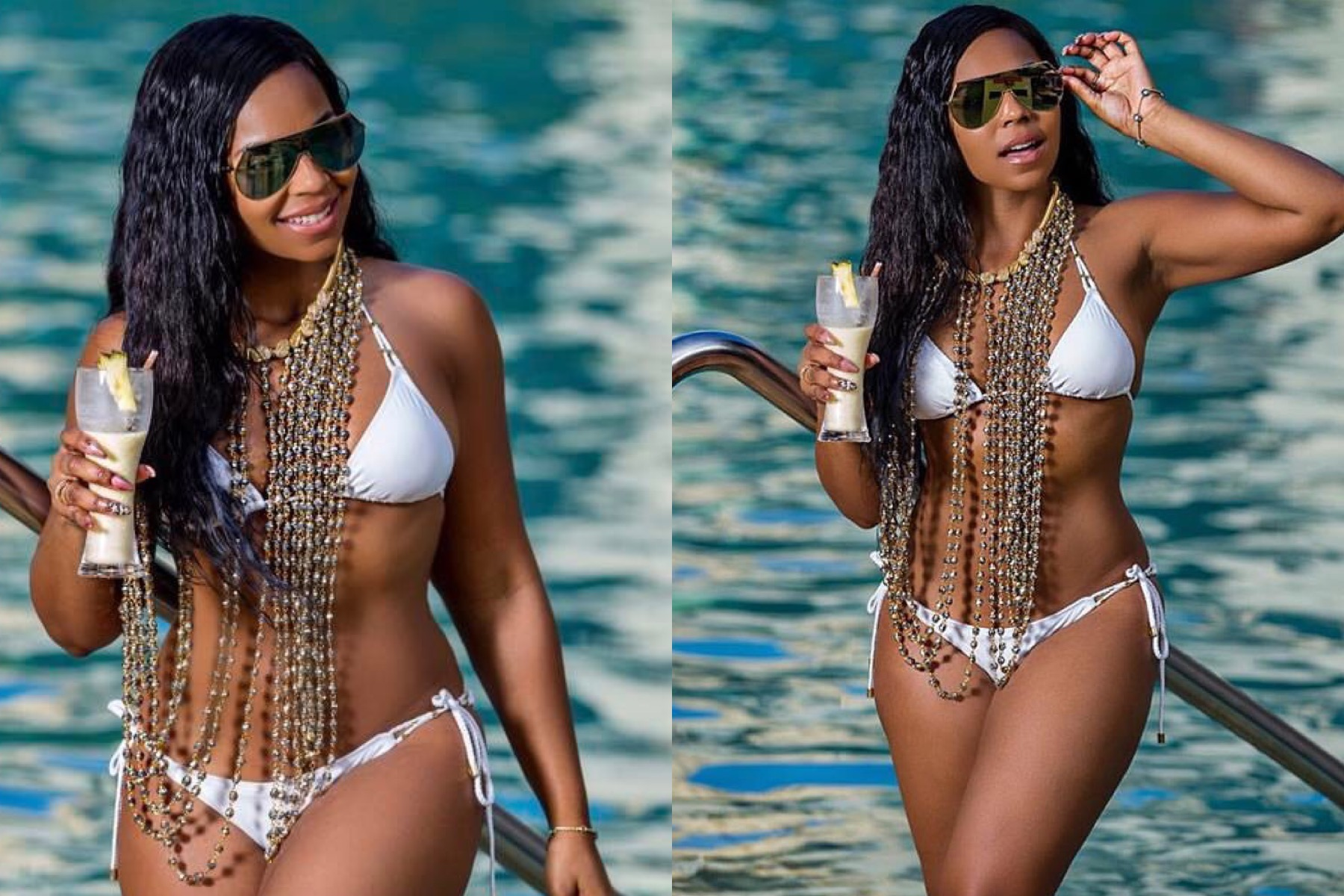 R&B Artist Ashanti wears our crystal vest necklace.
