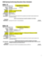 Spring 2020 CE Class Schedule (Calendar)