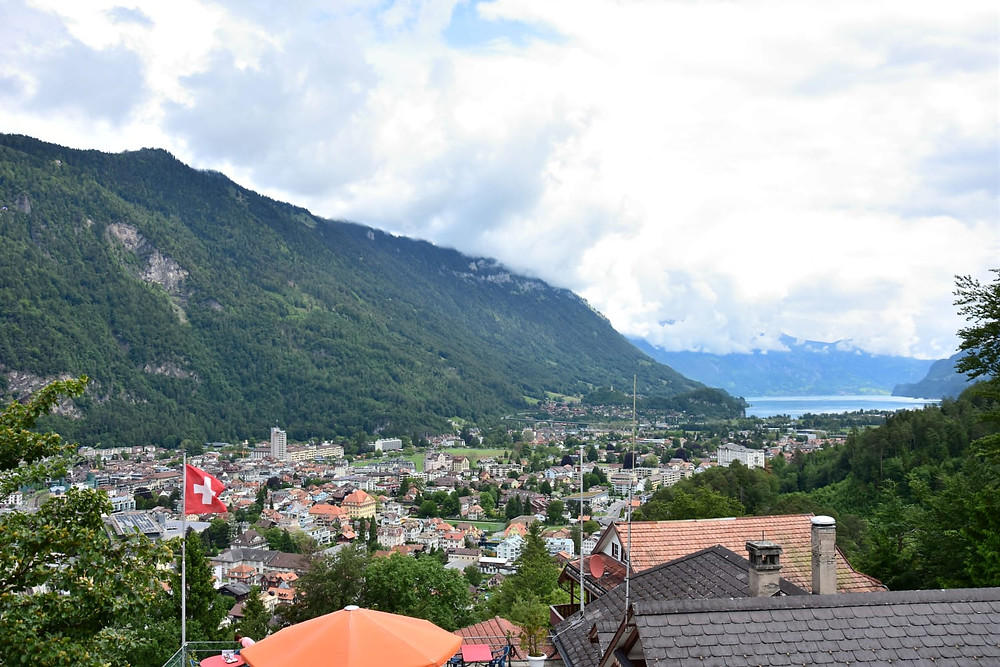 Interlaken town drone
