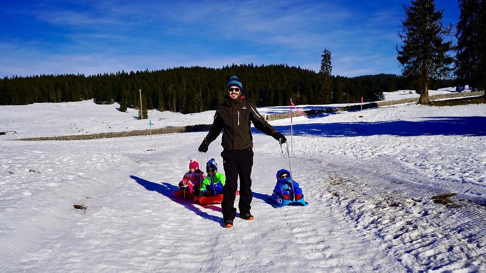 Col de la Givrine & St-Cergue (Vaud) - Walk Genolière and sledge - Swiss Family Blog