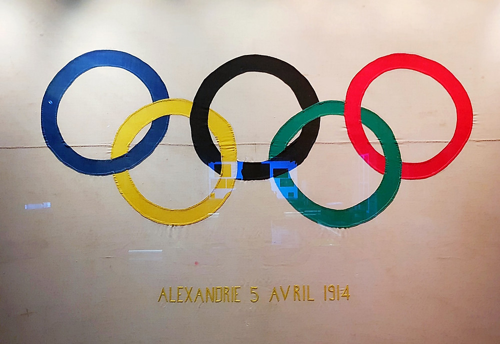 The olympic flag was first designed in 1912 by Baron Pierre de Coubertin.