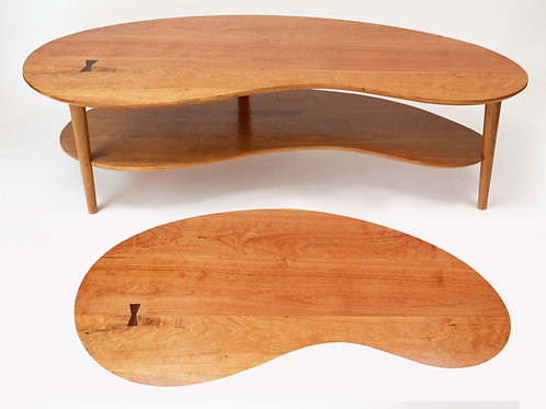 Mid Century Modern Double Kidney Coffee Table with Shelf