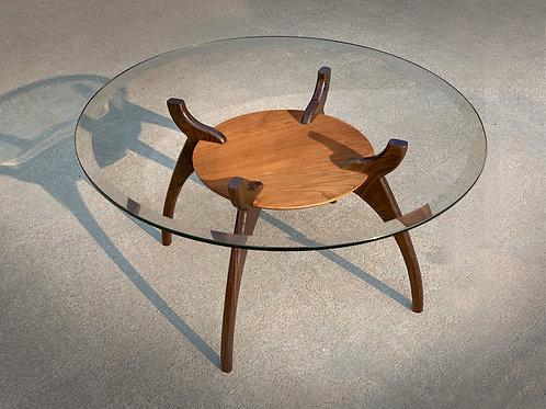 "32"" Round Glass Mid Century Modern Coffee Table"
