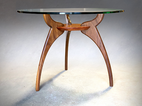 Round Glass Walnut Mid Century Modern Side Coffee Table Base