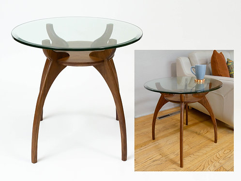 Mid Century Modern Tall Glass Side Cherry Table Base