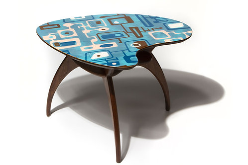 Blue Boomerang Cocktail Side Accent Table