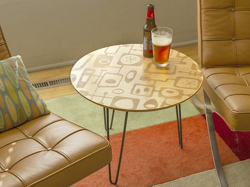Round Mid Century Modern Googie Cocktail Side Table Maple